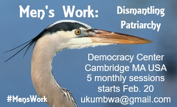 "Men's Work promotional image with event text, ""Men's Work: Dismantling Patriarchy"", with Democracy Center venue and event information, facilitator email and ""#MensWork"" hashtag wrapped around close-up image of a great blue heron's head against a medium dark blue background"