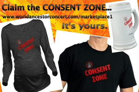 "Composite image of 3 products with ""Consent Zone"" design, a maternity shirt, men's short sleeve shirt and a beer stein, promo content reads, ""Claim the CONSENT ZONE...It's yours"" along with the Marketplace Online Store web portal page URL"