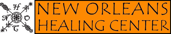Banner logo for the New Orleans Healing Center, text on orange background with star-like logo image to left