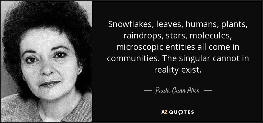 graphic text image of Paula Gunn Allen quote: Snowflakes, leaves, humans, plants, raindrops, stars, molecules, microscopic entities all come in communities. The singular cannot in reality exist., with close-up portrait of her to the left of text