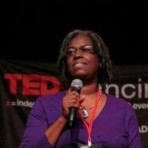 Location shot of Quanita Roberson at her TED talk in Cincinatti