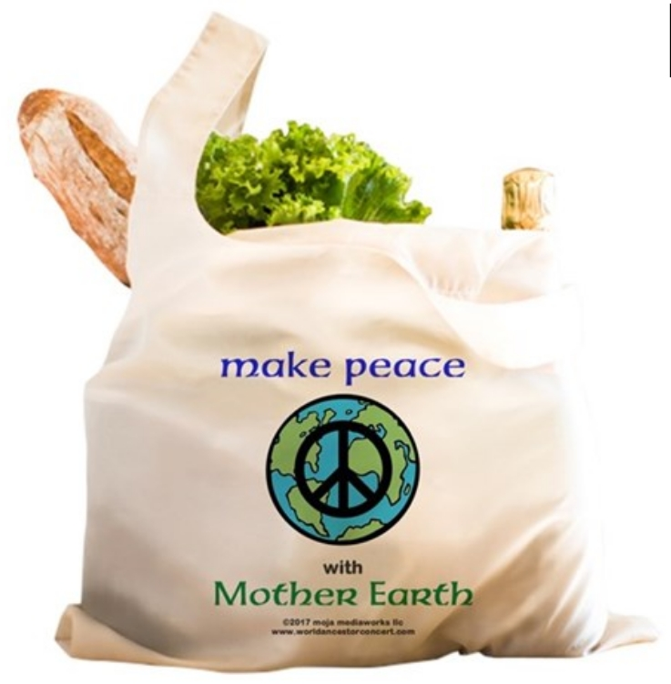 Make Peace with Mother Earth design reusable shopping bag