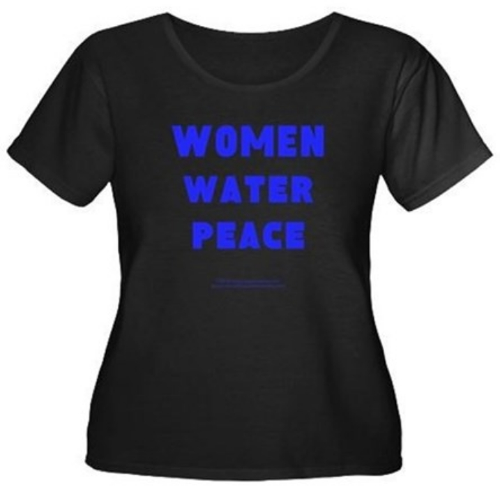 Women, Water, Peace Large Blue theme design plus size women's t-shirt
