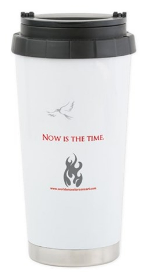 Phoenix Fire Now Is The Time design on stainless steel travel mug