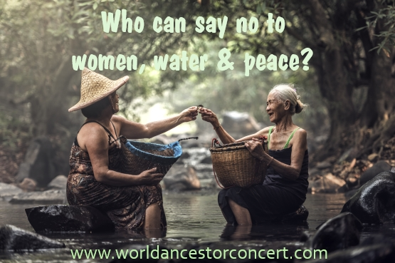 "image of two Elder women sitting close to each other with their feet in a stream sharing their catch with each other in a lush green forest setting, text reads""Who can say no to women, water and peace?"""