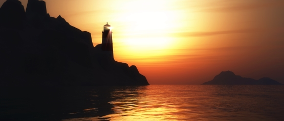 warm sunset graphic image of lighthouse on a rocky coast