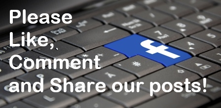 "close-up photograph of a grey computer keyboard with a blue Facebook key with white logo integrated into the keyboard, text says, ""Please Like, Comment and Share our posts!"""