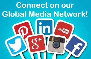 "Graphic image of seven social media platform icon placards on white posts against a medium blue background, text reads, ""Connect on our Global Media Network"""
