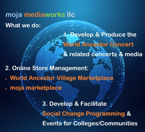Description of 3 elements of moja mediaworks llc business, World Ancestor Concert, Online Store Management and Social Change Programming, over graphic image of blue luminous earth globe surrounded by network web