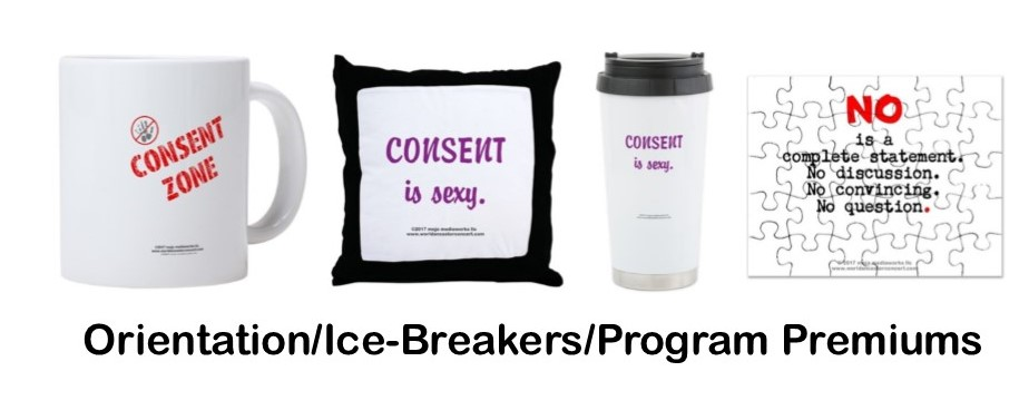 "Composite image of 4 assorted Education design message products, a coffee mug, pillow, travel mug and a puzzle, with text: ""Orientation/Ice-Breakers/Program Premiums"""