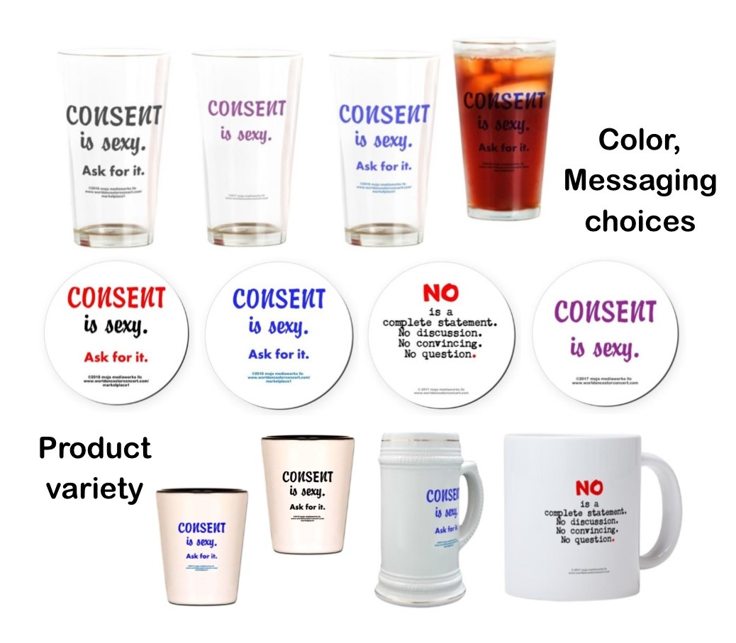 "Composite image of numerous Bar-Restaurant Online Store section products and design messaging with text saying, ""Color, Messaging Choices"" and ""Product Variety"""